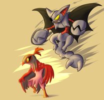 Hawlucha and Gliscor(Possible future Team or NPCs) by Wonder-Waffle