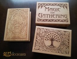 Magic the Gathering and The Legend of Zelda boxes by alesthewoodcarver