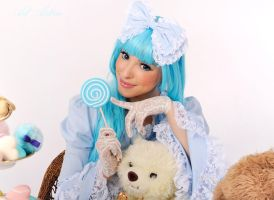 Sweet Lolita and white bear by Yana-Mio