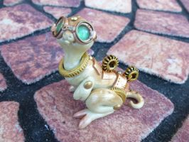 Golden Gear steampunk dragon pal sculpture by MysticReflections