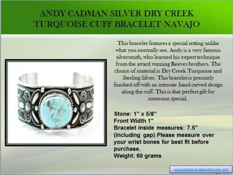 Andy Cadman Silver Dry Creek Turquoise Cuff Bracel by mesaverde1