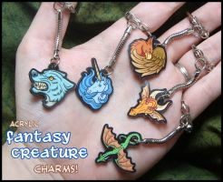 Fantasy Creature Acrylic Charms by Nightlyre