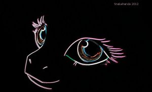 MLP neon pony eyes wallpaper by snakehands