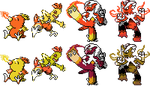 Torchic Family GSC Sprites by Axel-Comics