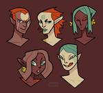 Wood Elf Portraits by oxboxer