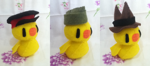 Gilbird Plush and Hats by ha-nata