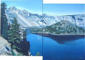 Crater Lake Diptych by lisaackerman