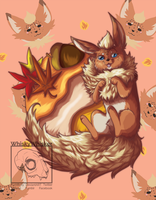 [Fanart] Flareon Puff by WhiskyWhisker