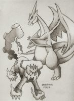 Charizard Y and Landorus-Therian by Bluekiss131