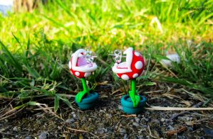 Piranha Plant Super Mario Earrings - Contest by ThinkSweet