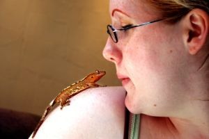 Amber and her Gecko by oppen