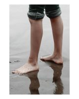 Feet in Wet Sand by humminggirl