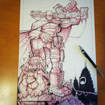 Commission: Dark Knight Returns WIP 03 - Linearts by RobDuenas