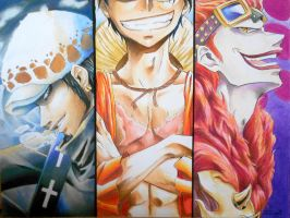 Monkey D. Luffy, Trafalgar Law, Eustass Kidd by Lamperougegirl