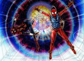 Scarlet Spider and Spider-Girl by albiemo