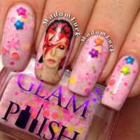 Ziggy Stardust  David Bowie nail art by MadamLuck