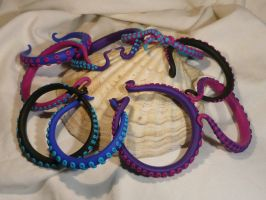 TENTACLES!!! A big pile of bracelets by Ganjamira