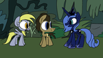 Derpy and Doctor meet Luna by JoeyWaggoner