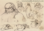 Ganondorf Sketches - pigs galore by tavington