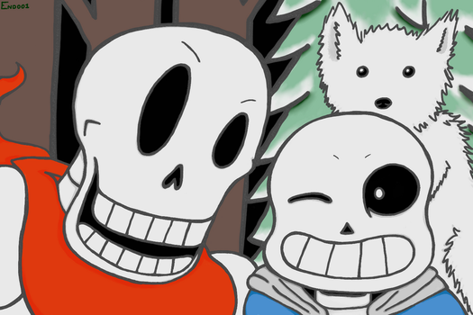 Undertale Brothers + Dog by End001