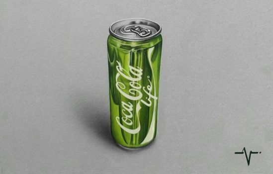 Realistic Coca Cola Life Can - Drawing by Anubhavg