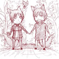 Holding hands - sketch by papuzka