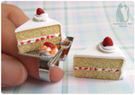 Handmade Strawberry Shortcake Pendant and Ring set by Talty