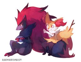 Zoroark and Braixen by bluekomadori