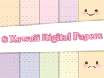 8 Digital Papers - Kawaii Emote Rainbow by Safira-09