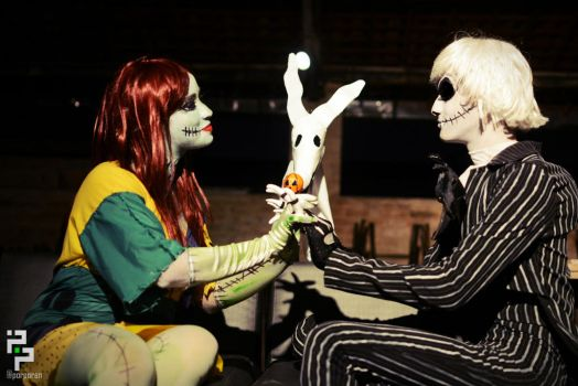 Sally,Jack Skellington and Zero - Stars in the sky by JuliePuddin