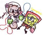 Spongebob and Sandy karate by Wierdo-gurl