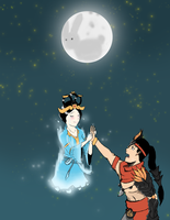 Smite - Hou Yi and Chang'e by lonelyonafriday