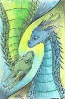 Saphira and Firnen by JasmineTwiL