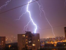 Lightning in Kosice , Slovakia , 8.7.2012 . by sparcosk