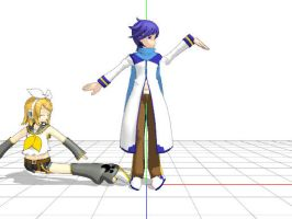 Kaito pushed Rin (mmd) by MinecraftMan2003
