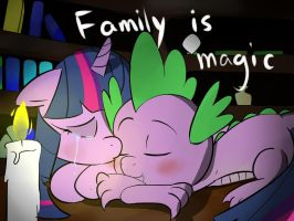 Spike and Twilight FAMILY IS MAGIC by zouyugi
