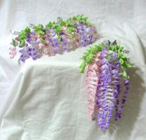 Pink and purple wisteria set by EruwaedhielElleth