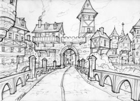 medieval city entrance by WriteNRun