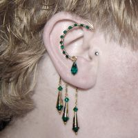 Emerald and Gold Ear Wrap v5- SOLD by YouniquelyChic