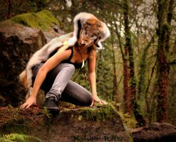 Gray Wolf Skin Headdress by NaturePunk