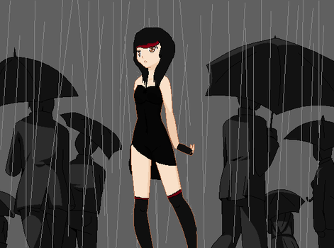 Alone in the rain by SweetApplecookie