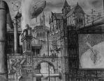 A Kind of a Steampunk City by ColourBlindPencil