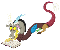 Discord Reading the Mane Six's Journal by TheCheeseburger