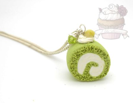 Green tea SCENTED roll cake necklace by ilikeshiniesfakery