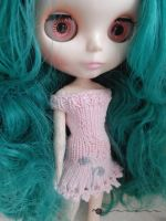 Picot knit and embroidered dress for Blythe by kivrin82