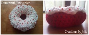 Red Velvet Doughnut Pincushion by CreationsbyJolie