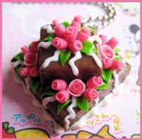 Chocolate Square Cake Necklace by cherryboop