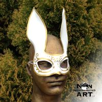 White Splicer Bunny - Handmade Leather Mask by nondecaf