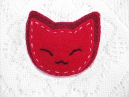 Red cat brooch by PeachPodHandmade