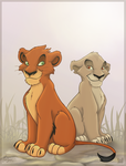 Cub Taka and Zira by charfade